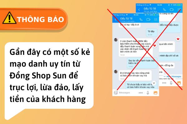 Mạo danh Đồng Shop Sun để lừa đảo